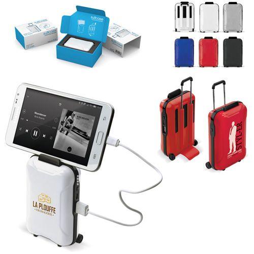 Chargeur de Batterie publicitaire en forme de valise avec haut parleur Ac Créations Strasbourg Alsace