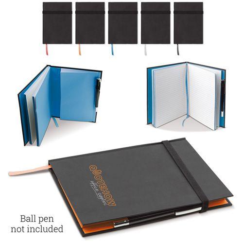 Carnet color A5 avec 80 pages blanches lignées et un boucle en élastique pour ranger un stylo publicitaire AC Créations Strasbourg Alsace