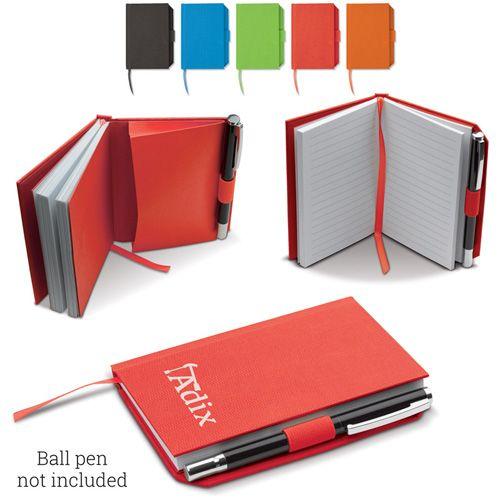 Carnet en toile A6 80 pages blanches, un élastique sur le cotes pour déposer le stylos publicitaire AC Création Strasbourg Alsace