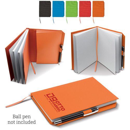 Carnet en toile A5 80 pages blanches, un élastique sur le cotes pour déposer le stylos publicitaire AC Création Strasbourg Alsace