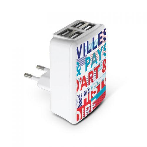 Chargeur secteur 4 USB publicitaire AC Créations Strasbourg Alsace