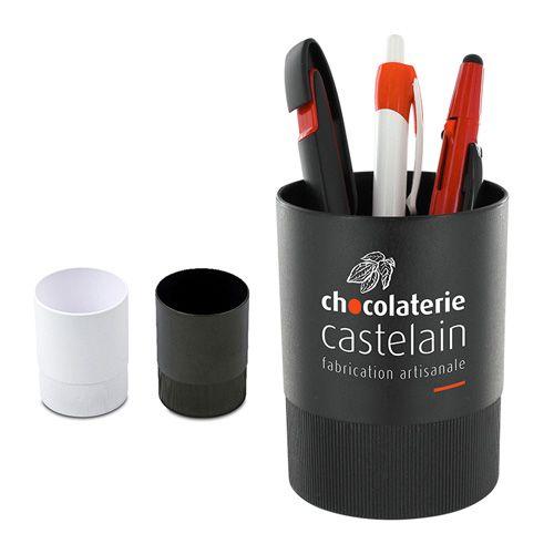 Pot a crayons avec le bas en caoutchouc pour une utilisation sans risque publicitaire AC Créations Strasbourg Alsace